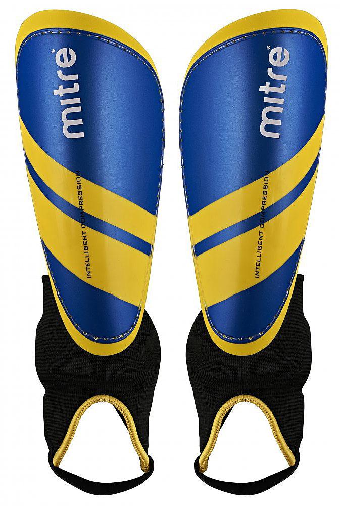 Щитки футбольные Mitre IC Tungsten, цвет: синий, желтый. Размер M