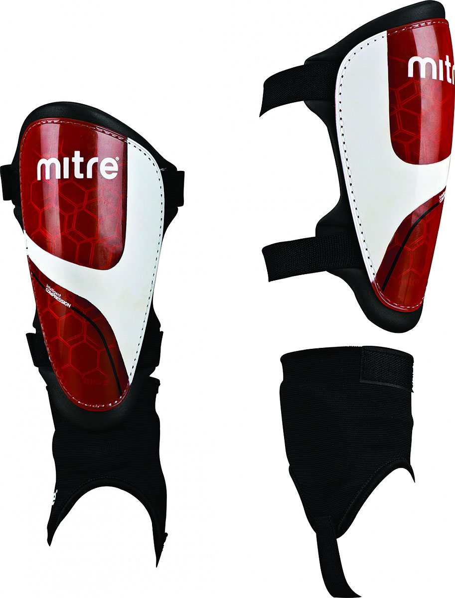 Щитки футбольные Mitre  Septor IP , цвет: черный, красный. Размер M - Футбол