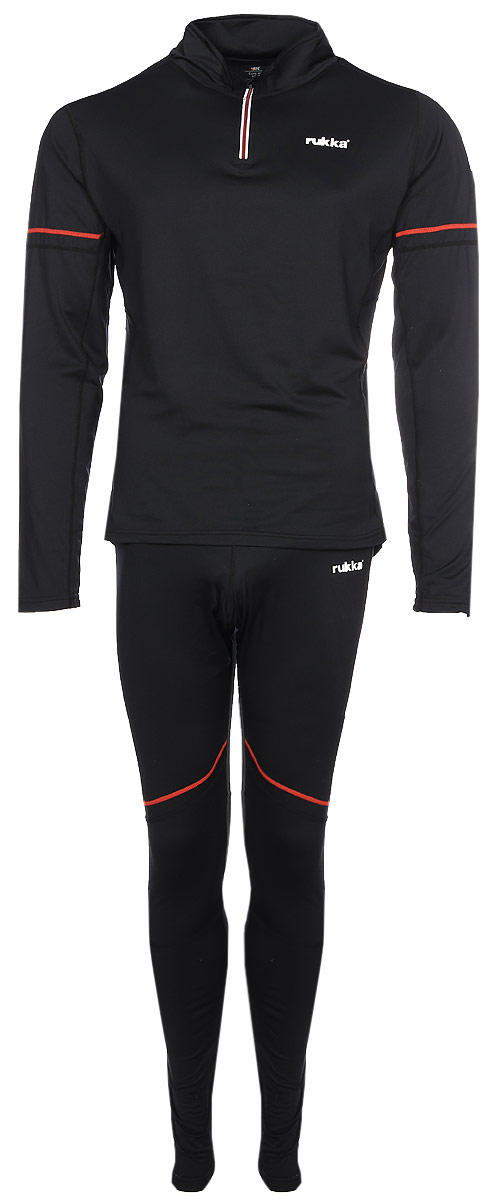 Термобелье Rukka: кофта, брюки, цвет: черный. 870524216RV_999. Размер XL (54)870524216RV_999Комплект термобелья от Rukka, состоящий из кофты и облегающих брюк. Комплект подойдет для занятий зимними видами спорта. Материал эффективно отводит излишнюю влагу от тела и быстро сохнет. Эластичная ткань обеспечивает удобную посадку и не стесняет движения. Микроворс с внутренней стороны обеспечивает тепло и комфорт. Кофта с длинными рукавами имеет молнию на горловине.
