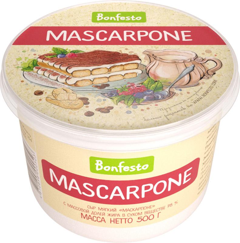 Bonfesto Сыр мягкий Маскарпоне 78%, 500 гМС-00001674Сыр Bonfesto Маскарпоне — традиционный итальянский мягкий сыр, полученный методом ультрафильтрации сливок. Имеет кремообразную консистенцию и нежный сладковатый вкус. Именно эти качества делают его идеальным сыром для десертов. Наибольшую известность среди гурманов маскарпоне получил как основной компонент знаменитого итальянского десерта Тирамису.Маскарпоне хорошо сочетается с фруктами и ягодами, особую изысканность приобретает в сочетании с тертым горьким шоколадом. Может использоваться в качестве альтернативы маслу для бутербродов, тем самым придаваяизящную нотку обычному блюду