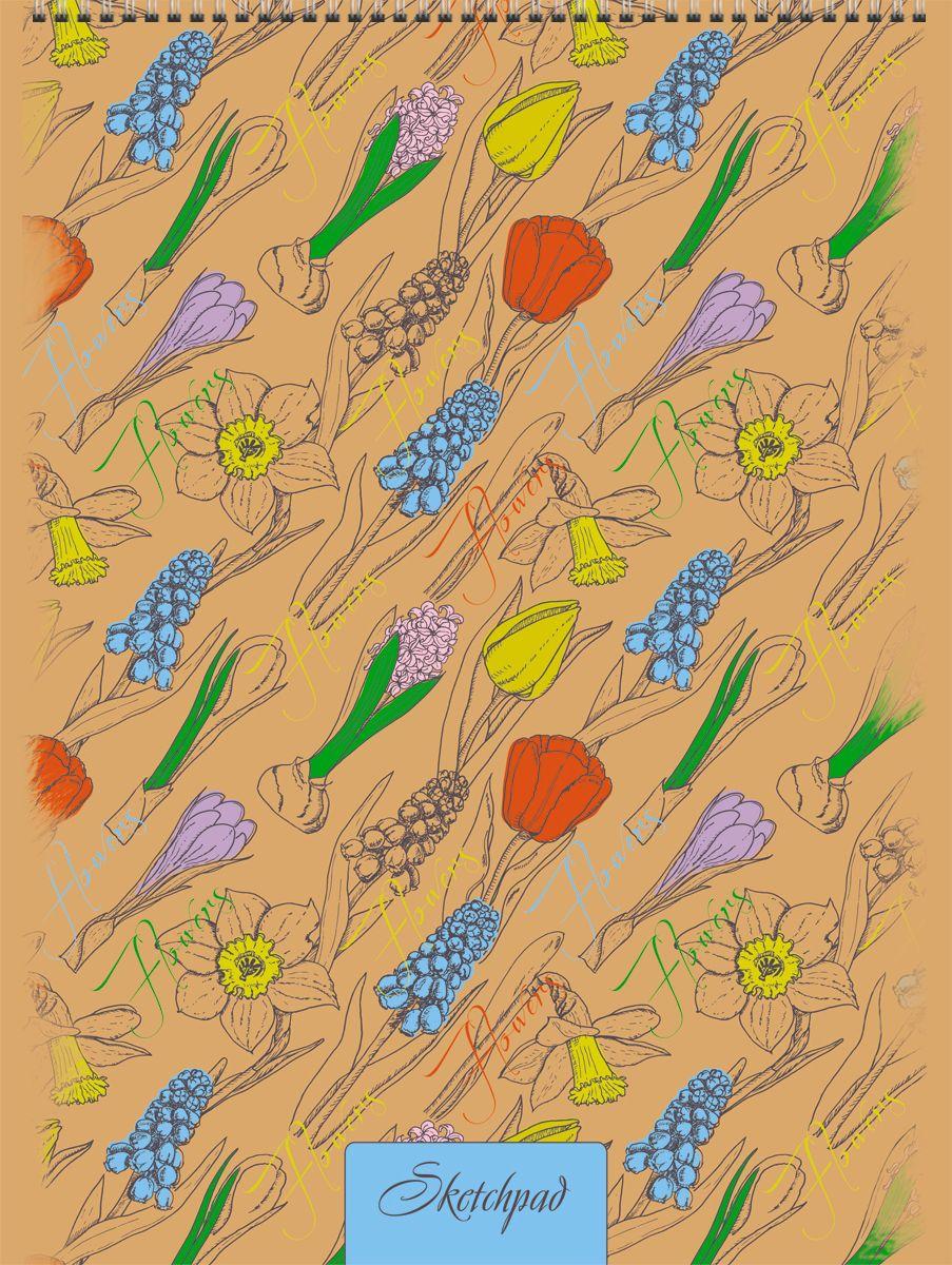 Канц-Эксмо Скетчбук Нежные цветыСПСЛ4002Скетчпад А4 , 40л., без линовки, Нежные цветы.