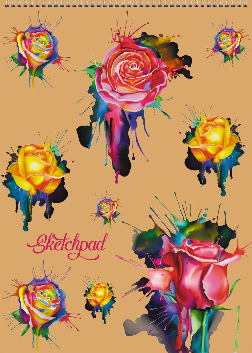 Канц-Эксмо Скетчбук Акварельные розыСПСЛ4005Скетчпад А4 , 40л., без линовки, Акварельные розы.