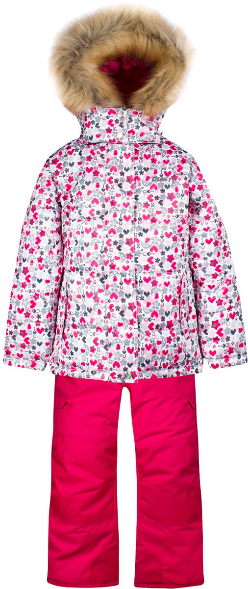 Комплект верхней одежды для девочки Gusti, цвет: белый, розовый, серый. GWG 4641-PINK. Размер 96GWG 4641-PINKКомплект Gusti состоит из куртки и полукомбинезона. Ткань верха: мембрана с коэффициентом водонепроницаемости 5000 мм и коэффициентом паропроницаемости 5000 г/м2, одежда ветронепродуваемая. Благодаря тонкому полиуретановому напылению изнутри не промокает даже при сильной влаге, но при этом дышит (защита от влаги не препятствует циркуляции воздуха). Плотность ткани Т190 обеспечивает высокую износостойкость. Утеплитель: тек-Полифилл (Tech-Polyfil) - 280г/м2, силиконизированый полиэстер изготовленный по новейшим технологиям, удерживает тепло при температуре до -30 С. Очень мягкий, создающий объем для сохранения тепла. Высокоэффективный, обладающий повышенной устойчивостью к сжатию (после стирки в стиральной машине изделие достаточно встряхнуть), обеспечивающий хорошую вентиляцию, обладающий прекрасным, теплоизолирующими свойствами синтетический материал. Главные преимущества Тек-Полифила – одежда более пушистая на ощупь и менее тяжелое по весу. Подкладка: высокотехнологичный флис COOLQUICK. Специальное кручение нитей позволяет ткани максимально впитывать влагу и увеличивать испаряемость с поверхности, т.е. выпустить пар, но не пропускает влагу снаружи, что обеспечивает комфорт даже при высоких физических нагрузках. Этот материал ранее был разработан специально для спортсменов, которые испытывали сильные нагрузки во время активного движения, а теперь принес комфорт и тепло в нашу повседневную жизнь. Это особенно важно для детей, когда они гуляют на свежем воздухе, чтобы тело всегда оставалось сухим и теплым. В этой одежде им будет тепло в течение длительного времени и нет необходимости надевать теплый свитер. Верхняя одежда GUSTI просто чистится. Стирать одежду придется очень редко – только при сильных загрязнениях. Если малыш забрался в лужу или грязь, просто вытрите пятно влажной тряпкой.