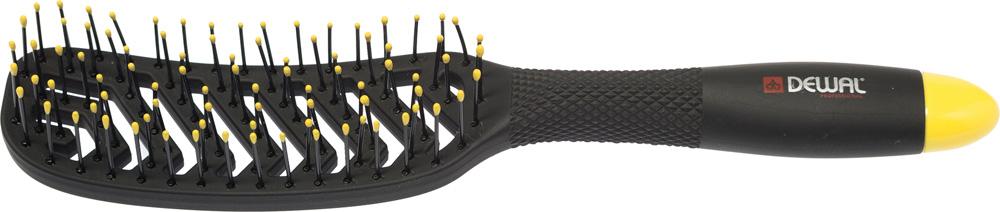 Dewal Щетка массажная Bananablack прямоугольная, продувная, узкая, пластиковый штифт, 8 рядовBNN83Щетка массажная Dewal BNN83 из серии BANANA black Специальный вогнутый дизайн отлично подходит к форме головы - Прямоугольная продувная, узкая, пластиковый штифт, 8 рядов; - Эластичная, легкая и прочная щетина с напылением магния; - Магниевое покрытие быстро нагревается и отдает тепло волосам; - Сушка становится быстрой и легкой; - Ручка с протекторными насечками не скользит в руках при работе; - Очень легкий вес; - Покрытие SOFT TOUCH