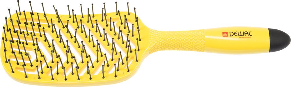 Dewal Щетка массажная Banana прямоугольная продувная, пластиковый штифт, 13 рядовBNN86Щетка массажная Dewal BNN86 из серии BANANA  Специальный вогнутый дизайн отлично подходит к форме головы - Прямоугольная продувная, пластиковый штифт, 13 рядов; - Эластичная, легкая и прочная щетина с напылением магния; - Магниевое покрытие быстро нагревается и отдает тепло волосам; - Сушка становится быстрой и легкой; - Ручка с протекторными насечками не скользит в руках при работе; - Очень легкий вес; - Покрытие SOFT TOUCH