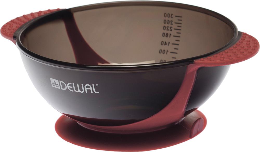 Dewal Чаша для краски, с двумя ручками с прорезиненной вставкой, цвет: красный, 300 млT-18wineЧаша для смешивания краски Dewal T-18wine Удобное приспособление, без которого не обходится ни одна процедура окрашивания волос Чаша изготовлена из качественного пластика, устойчивого к воздействию красителей и химических веществ Оригинальный дизайн Основание резиновое, при установке на плоскую поверхность и нажиме работает как присоска, плотно фиксируя емкость и исключая возможность ее скольжения Также имеются прорезиненные ручки, шкала делений Чаша легко моется, удобна в использовании Объем 300 мл Цвет вставок — красный