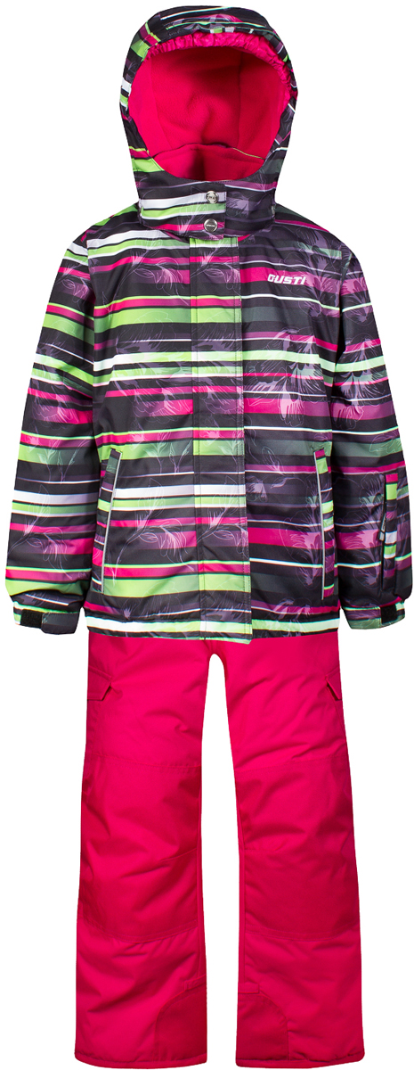 Комплект верхней одежды для девочки Gusti, цвет: черный. GWG 4644-BLACK. Размер 157GWG 4644-BLACKКомплект Gusti состоит из куртки и полукомбинезона. Ткань верха: мембрана с коэффициентом водонепроницаемости 5000 мм и коэффициентом паропроницаемости 5000 г/м2, одежда ветронепродуваемая. Благодаря тонкому полиуретановому напылению изнутри не промокает даже при сильной влаге, но при этом дышит (защита от влаги не препятствует циркуляции воздуха). Плотность ткани Т190 обеспечивает высокую износостойкость. Утеплитель: тек-Полифилл (Tech-Polyfil) - 280г/м2, силиконизированый полиэстер изготовленный по новейшим технологиям, удерживает тепло при температуре до -30 С. Очень мягкий, создающий объем для сохранения тепла. Высокоэффективный, обладающий повышенной устойчивостью к сжатию (после стирки в стиральной машине изделие достаточно встряхнуть), обеспечивающий хорошую вентиляцию, обладающий прекрасным, теплоизолирующими свойствами синтетический материал. Главные преимущества Тек-Полифила – одежда более пушистая на ощупь и менее тяжелое по весу. Подкладка: высокотехнологичный флис COOLQUICK. Специальное кручение нитей позволяет ткани максимально впитывать влагу и увеличивать испаряемость с поверхности, т.е. выпустить пар, но не пропускает влагу снаружи, что обеспечивает комфорт даже при высоких физических нагрузках. Этот материал ранее был разработан специально для спортсменов, которые испытывали сильные нагрузки во время активного движения, а теперь принес комфорт и тепло в нашу повседневную жизнь. Это особенно важно для детей, когда они гуляют на свежем воздухе, чтобы тело всегда оставалось сухим и теплым. В этой одежде им будет тепло в течение длительного времени и нет необходимости надевать теплый свитер. Верхняя одежда GUSTI просто чистится. Стирать одежду придется очень редко – только при сильных загрязнениях. Если малыш забрался в лужу или грязь, просто вытрите пятно влажной тряпкой.