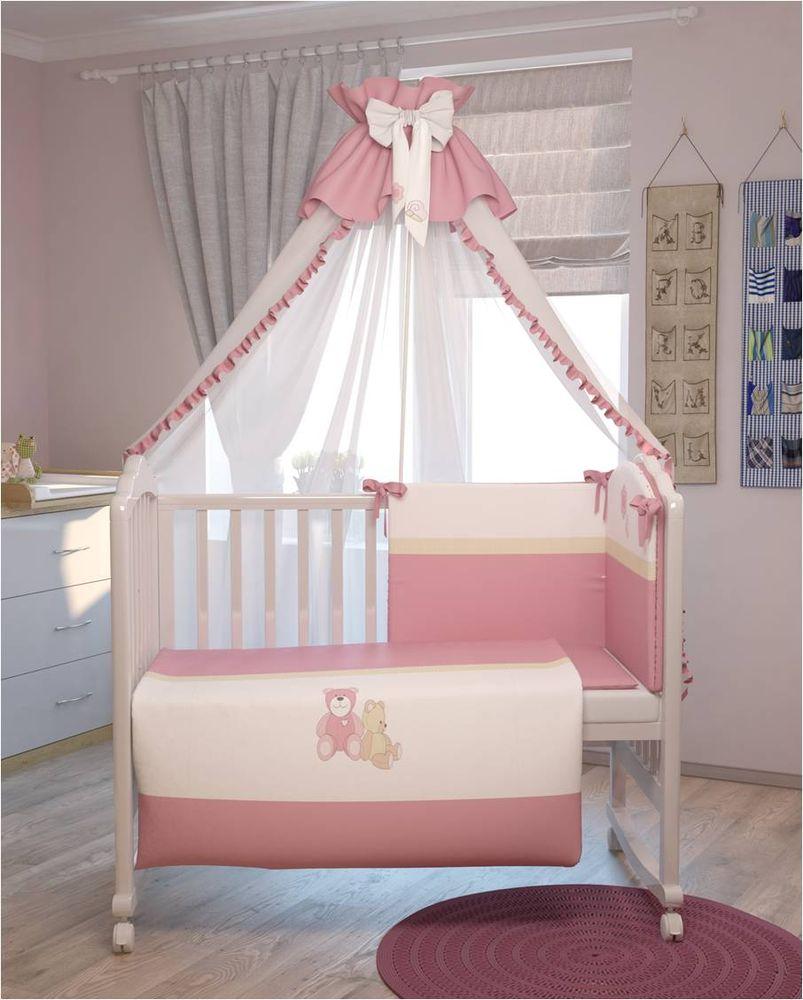 Polini Комплект белья для новорожденных Плюшевые мишки цвет розовый 7 предметов0001200-2Комплект создаст уют в детской кроватке и согреет в прохладные дни. Борт защитит малыша от сквозняков, пыли и солнца. Чехлы бортикаснимаются, что очень удобно при стирке. Изготовлен из натуральных, гипоаллергенных материалов. Оригинальная вышивка комплекта придастнеповторимый стиль в детской.Входит в состав коллекции мебели и аксессуаров для детской комнаты Polini Плюшевые мишки.Состав комплекта: - штора балдахина (300 см), - борт со съемными чехлами (37х180 см),- подушка (40х60 см), - наволочка (40х60 см), - простыня на резинке на матрац (120х60 см), - пододеяльник (110х140 см), - одеяло (110х140 см).