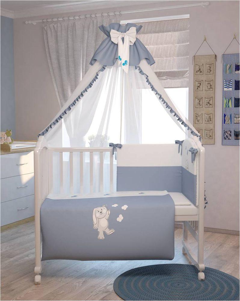 Polini Комплект белья для новорожденных Зайки цвет голубой 7 предметов подушка баловни зайчик и щенок 40х60 см