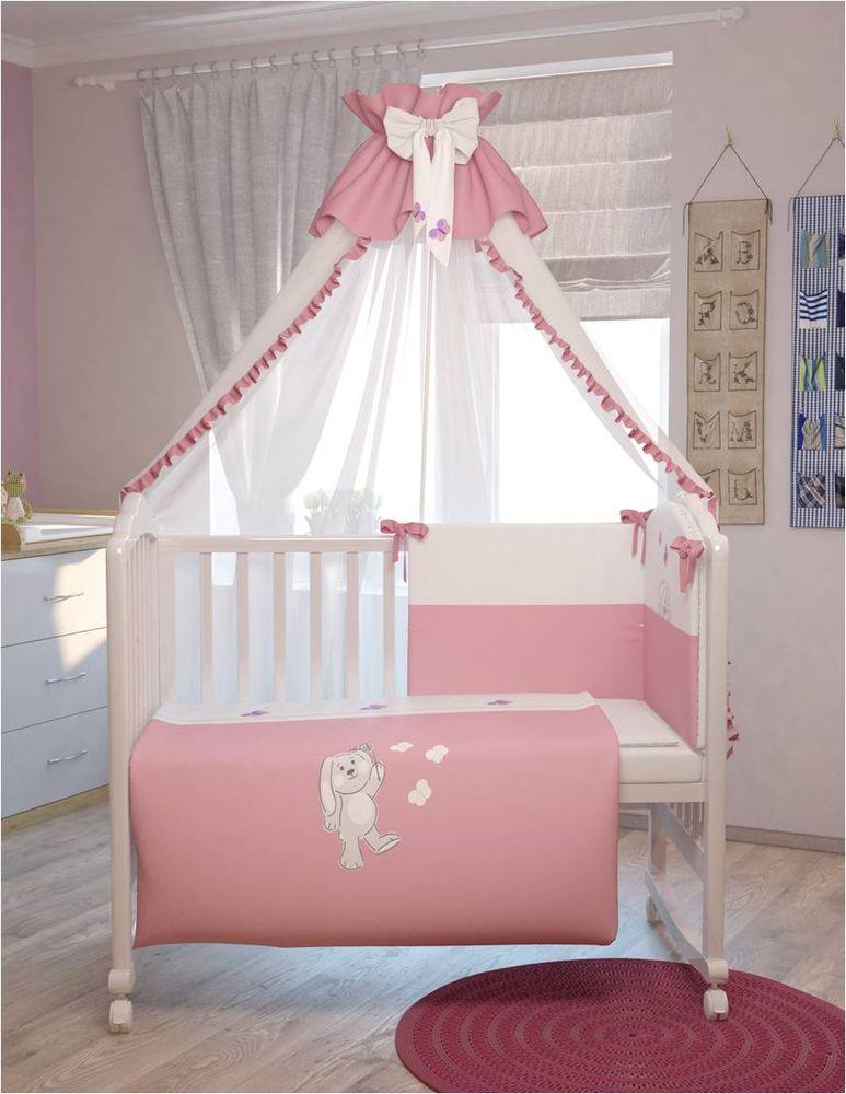 Polini Комплект белья для новорожденных Зайки цвет розовый 7 предметов0001201-2Комплект в кроватку Polini Зайки 7 предметов, голубой 120х60.Современные пастельные цвета комплекта и оригинальная вышивка в виде зайчиков и бабочек поднимет настроение малыша и подарит ему много сладких снов. Изготовлен из мягких, натуральных тканей, не вызывающих аллергию.Входит в состав коллекции мебели и аксессуаров для детской комнаты Polini Зайки.Состав комплекта:- штора балдахина (300 см),- борт со съемными чехлами (37х180 см), - подушка (40х60 см),- наволочка (40х60 см),- простыня на резинке на матрац (120х60 см),- пододеяльник (110х140 см),- одеяло (110х140 см).
