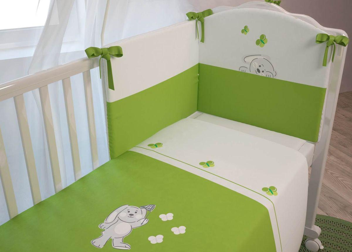 Polini Комплект белья для новорожденных Зайки цвет зеленый 3 предмета0001300-4Яркие цвета комплекта и оригинальная вышивка в виде зайчиков и бабочек поднимет настроение малыша и подарит ему много сладких снов. Изготовлен из мягких, натуральных тканей, не вызывающих аллергию.Входит в состав коллекции мебели и аксессуаров для детской комнаты Polini Зайки.Состав комплекта:- наволочка (40х60 см),- простыня на резинке на матрац (120х60 см),- пододеяльник (110х140 см).