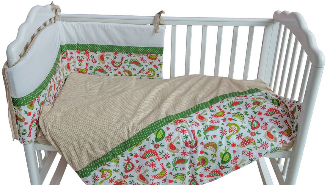 Polini Комплект белья для новорожденных Кантри цвет зеленый 3 предмета