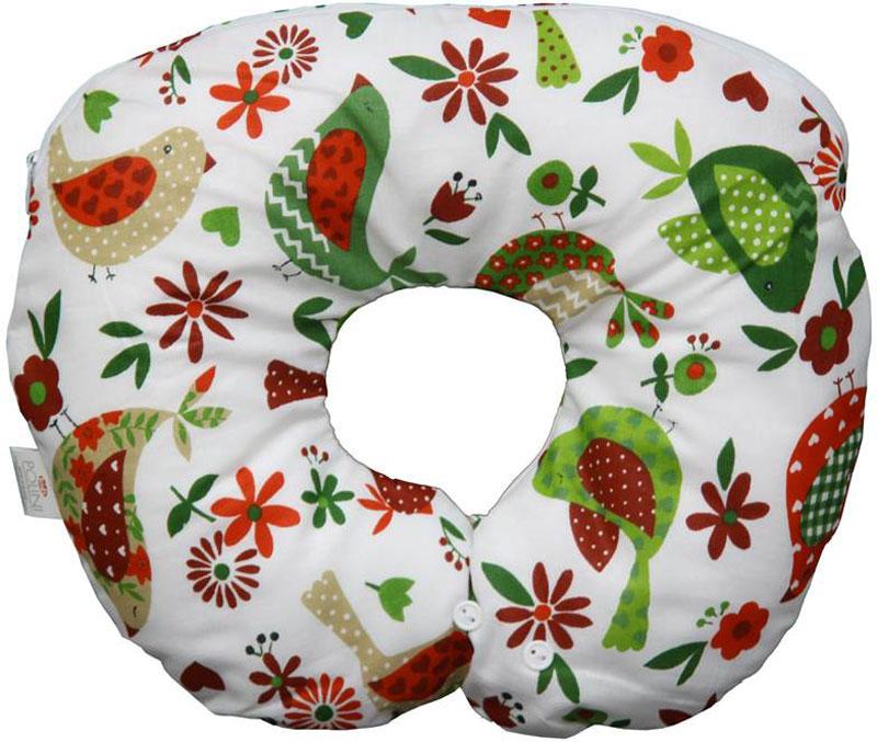 Подушка обеспечивает хорошую поддержку головы и шеи младенца. Имеет два уровня регулировки размера для шеи ребенка за счет петельки и пуговиц. Имеет съемный чехол на молнии. Наполнитель: шарики из пенополистирола. Материал верха: 100% хлопок.