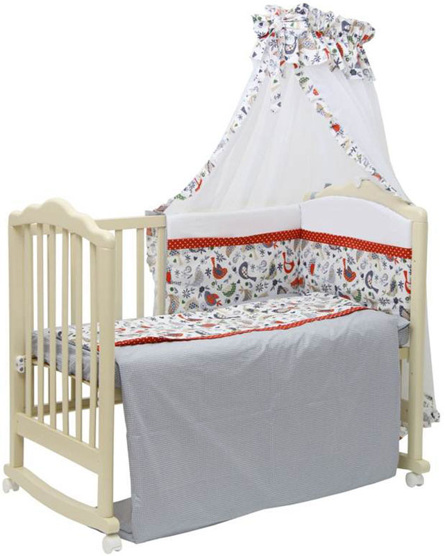 Стильное постельное белье Кантри состоит из 7 предметов так необходимых для обустройства детского спального места. Комплект создаст уют в детской кроватке и согреет в прохладные дни. Борт защитит малыша от сквозняков, пыли и солнца. Чехлы бортика снимаются, что очень удобно при стирке.  Изготовлен из натуральных, гипоаллергенных материалов - 100% хлопок высочайшего качества. Входит в состав коллекции аксессуаров для детской комнаты Polini Кантри.  Состав комплекта: - штора балдахина (300 см), - борт со съемными чехлами (37х180 см),  - подушка (40х60 см), - наволочка (40х60 см), - простыня на резинке на матрац (120х60 см), - пододеяльник (110х140 см), - одеяло (110х140 см).