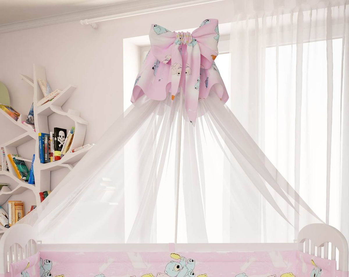Polini Балдахин в кроватку Мишки цвет розовый