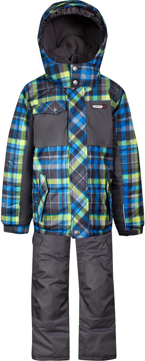 Комплект верхней одежды для мальчика Gusti, цвет: лайм. GWB 4634-ACID LIME. Размер 123GWB 4634-ACID LIMEКомплект Gusti состоит из куртки и полукомбинезона. Ткань верха: мембрана с коэффициентом водонепроницаемости 5000 мм и коэффициентом паропроницаемости 5000 г/м2, одежда ветронепродуваемая. Благодаря тонкому полиуретановому напылению изнутри не промокает даже при сильной влаге, но при этом дышит (защита от влаги не препятствует циркуляции воздуха). Плотность ткани Т190 обеспечивает высокую износостойкость. Утеплитель: тек-Полифилл (Tech-Polyfil) - 280г/м2, силиконизированый полиэстер изготовленный по новейшим технологиям, удерживает тепло при температуре до -30 С. Очень мягкий, создающий объем для сохранения тепла. Высокоэффективный, обладающий повышенной устойчивостью к сжатию (после стирки в стиральной машине изделие достаточно встряхнуть), обеспечивающий хорошую вентиляцию, обладающий прекрасным, теплоизолирующими свойствами синтетический материал. Главные преимущества Тек-Полифила – одежда более пушистая на ощупь и менее тяжелое по весу. Подкладка: высокотехнологичный флис COOLQUICK. Специальное кручение нитей позволяет ткани максимально впитывать влагу и увеличивать испаряемость с поверхности, т.е. выпустить пар, но не пропускает влагу снаружи, что обеспечивает комфорт даже при высоких физических нагрузках. Этот материал ранее был разработан специально для спортсменов, которые испытывали сильные нагрузки во время активного движения, а теперь принес комфорт и тепло в нашу повседневную жизнь. Это особенно важно для детей, когда они гуляют на свежем воздухе, чтобы тело всегда оставалось сухим и теплым. В этой одежде им будет тепло в течение длительного времени и нет необходимости надевать теплый свитер. Верхняя одежда GUSTI просто чистится. Стирать одежду придется очень редко – только при сильных загрязнениях. Если малыш забрался в лужу или грязь, просто вытрите пятно влажной тряпкой.