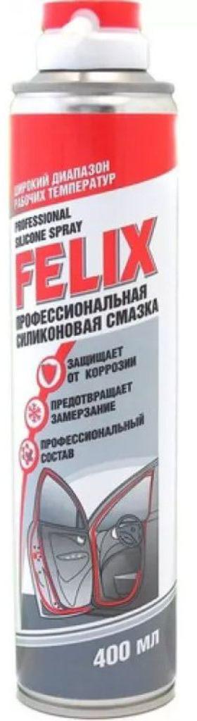 Силиконовая смазка Felix, 400 мл. 411040016411040016Профессиональный состав для смазки замков, дверных петель, механических соединений, для обработки резиновых уплотнителей дверей, капота, багажника от замерзания. Сохраняет размер и эластичности уплотнителей.