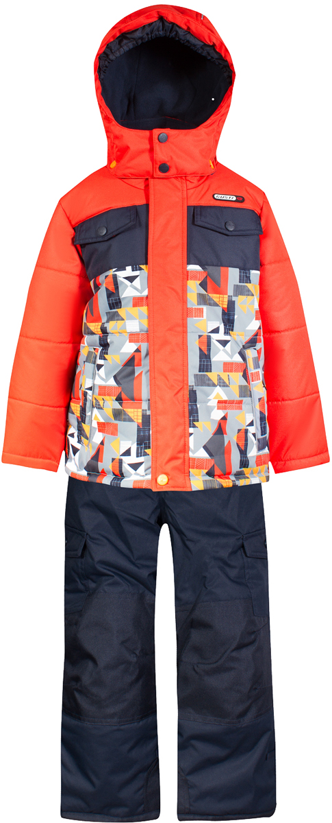 Комплект верхней одежды для мальчика Gusti, цвет: оранжевый, мультиколор. GWB 4639-ORANGE.COM. Размер 112GWB 4639-ORANGE.COMКомплект Gusti состоит из куртки и брюк. Ткань верха: мембрана с коэффициентом водонепроницаемости 5000 мм и коэффициентом паропроницаемости 5000 г/м2, одежда ветронепродуваемая. Благодаря тонкому полиуретановому напылению изнутри не промокает даже при сильной влаге, но при этом дышит (защита от влаги не препятствует циркуляции воздуха). Плотность ткани Т190 обеспечивает высокую износостойкость. Утеплитель: тек-Полифилл (Tech-Polyfil) - 280г/м2, силиконизированый полиэстер изготовленный по новейшим технологиям, удерживает тепло при температуре до -30 С. Очень мягкий, создающий объем для сохранения тепла. Высокоэффективный, обладающий повышенной устойчивостью к сжатию (после стирки в стиральной машине изделие достаточно встряхнуть), обеспечивающий хорошую вентиляцию, обладающий прекрасным, теплоизолирующими свойствами синтетический материал. Главные преимущества Тек-Полифила – одежда более пушистая на ощупь и менее тяжелое по весу. Подкладка: высокотехнологичный флис COOLQUICK. Специальное кручение нитей позволяет ткани максимально впитывать влагу и увеличивать испаряемость с поверхности, т.е. выпустить пар, но не пропускает влагу снаружи, что обеспечивает комфорт даже при высоких физических нагрузках. Этот материал ранее был разработан специально для спортсменов, которые испытывали сильные нагрузки во время активного движения, а теперь принес комфорт и тепло в нашу повседневную жизнь. Это особенно важно для детей, когда они гуляют на свежем воздухе, чтобы тело всегда оставалось сухим и теплым. В этой одежде им будет тепло в течение длительного времени и нет необходимости надевать теплый свитер. Верхняя одежда GUSTI просто чистится. Стирать одежду придется очень редко – только при сильных загрязнениях. Если малыш забрался в лужу или грязь, просто вытрите пятно влажной тряпкой.