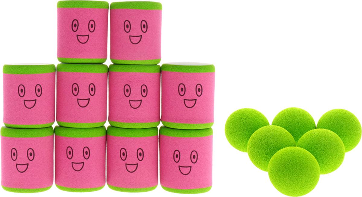 Safsof Игровой набор Городки цвет розовый зеленый