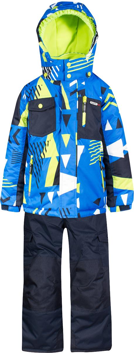 Комплект верхней одежды для мальчика Gusti, цвет: синий, голубой, желтый. GWB 4637-ELECTRIC BLUE. Размер 96GWB 4637-ELECTRIC BLUEКомплект Gusti состоит из куртки и полукомбинезона. Ткань верха: мембрана с коэффициентом водонепроницаемости 5000 мм и коэффициентом паропроницаемости 5000 г/м2, одежда ветронепродуваемая. Благодаря тонкому полиуретановому напылению изнутри не промокает даже при сильной влаге, но при этом дышит (защита от влаги не препятствует циркуляции воздуха). Плотность ткани Т190 обеспечивает высокую износостойкость. Утеплитель: тек-Полифилл (Tech-Polyfil) - 280г/м2, силиконизированый полиэстер изготовленный по новейшим технологиям, удерживает тепло при температуре до -30 С. Очень мягкий, создающий объем для сохранения тепла. Высокоэффективный, обладающий повышенной устойчивостью к сжатию (после стирки в стиральной машине изделие достаточно встряхнуть), обеспечивающий хорошую вентиляцию, обладающий прекрасным, теплоизолирующими свойствами синтетический материал. Главные преимущества Тек-Полифила – одежда более пушистая на ощупь и менее тяжелое по весу. Подкладка: высокотехнологичный флис COOLQUICK. Специальное кручение нитей позволяет ткани максимально впитывать влагу и увеличивать испаряемость с поверхности, т.е. выпустить пар, но не пропускает влагу снаружи, что обеспечивает комфорт даже при высоких физических нагрузках. Этот материал ранее был разработан специально для спортсменов, которые испытывали сильные нагрузки во время активного движения, а теперь принес комфорт и тепло в нашу повседневную жизнь. Это особенно важно для детей, когда они гуляют на свежем воздухе, чтобы тело всегда оставалось сухим и теплым. В этой одежде им будет тепло в течение длительного времени и нет необходимости надевать теплый свитер. Верхняя одежда GUSTI просто чистится. Стирать одежду придется очень редко – только при сильных загрязнениях. Если малыш забрался в лужу или грязь, просто вытрите пятно влажной тряпкой.