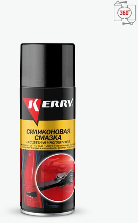 Силиконовая смазка KERRY, универсальная, 210 мл. KR-941-1KR-941-1Силиконовая смазка предназначена для защитной обработки различных деталей и механизмов автомобиля. Основу продукта составляет силикон в смеси углеводородных растворителей и углеводородного пропеллента, помещенных в аэрозольную упаковку.