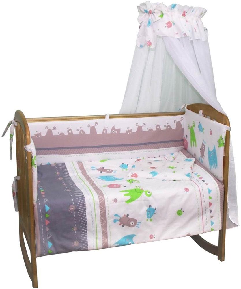 Polini Комплект белья для новорожденных Монстрики 7 предметов 12161216Комплект в кроватку Polini Монстрики 7 предметов 120х60.Веселый комплект в детскую кроватку Монстрики выполнен из 100% хлопка высочайшего качества.Белье создаст уютную и теплую атмосферу внутри кроватки, а дышащие материалы обеспечат комфортный сон младенца.Рисунок в виде монстриков позволит сочетать комплект в кроватку со всеми элементами детской мебели Polini Монстрики.Комплект состоит из 7 предметов:- штора балдахина (400 см),- борт со съемными чехлами (37х180 см), - подушка (40х60 см),- наволочка (40х60 см),- простыня на резинке на матрац (120х60 см),- пододеяльник (110х140 см),- одеяло в комплекте (110х140 см).Комплект подходит на кроватку со стандартным размером ложа 120х60 см.