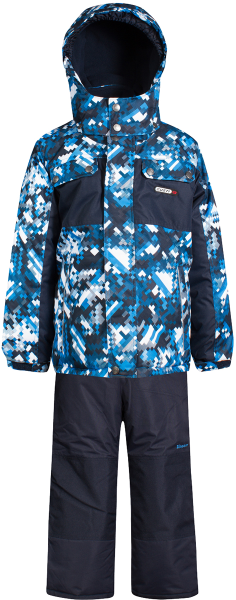Комплект верхней одежды для мальчика Gusti, цвет: синий. GWB 4635-BRILLIANT BLUE. Размер 100GWB 4635-BRILLIANT BLUEТкань верха: Мембрана с коэффициентом водонепроницаемости 5000 мм и коэффициентом паропроницаемости 5000 г/м2, одежда ветронепродуваемая. Благодаря тонкому полиуретановому напылению изнутри не промокает даже при сильной влаге, но при этом дышит (защита от влаги не препятствует циркуляции воздуха). Плотность ткани Т190 обеспечивает высокую износостойкость. Утеплитель: Тек-Полифилл (Tech-Polyfil) - 280г/м2, силиконизированый полиэстер изготовленный по новейшим технологиям, удерживает тепло при температуре до -30 С. Очень мягкий, создающий объем для сохранения тепла. Высокоэффективный, обладающий повышенной устойчивостью к сжатию (после стирки в стиральной машине изделие достаточно встряхнуть), обеспечивающий хорошую вентиляцию, обладающий прекрасным, теплоизолирующими свойствами синтетический материал. Главные преимущества Тек-Полифила – одежда более пушистая на ощупь и менее тяжелое по весу. Подкладка: Высокотехнологичный флис COOLQUICK. Специальное кручение нитей позволяет ткани максимально впитывать влагу и увеличивать испаряемость с поверхности, т.е. выпустить пар, но не пропускает влагу снаружи, что обеспечивает комфорт даже при высоких физических нагрузках. Этот материал ранее был разработан специально для спортсменов, которые испытывали сильные нагрузки во время активного движения, а теперь принес комфорт и тепло в нашу повседневную жизнь. Это особенно важно для детей, когда они гуляют на свежем воздухе, чтобы тело всегда оставалось сухим и теплым. В этой одежде им будет тепло в течение длительного времени и нет необходимости надевать теплый свитер. Верхняя одежда GUSTI просто чистится. Стирать одежду придется очень редко – только при сильных загрязнениях. Если малыш забрался в лужу или грязь, просто вытрите пятно влажной тряпкой.
