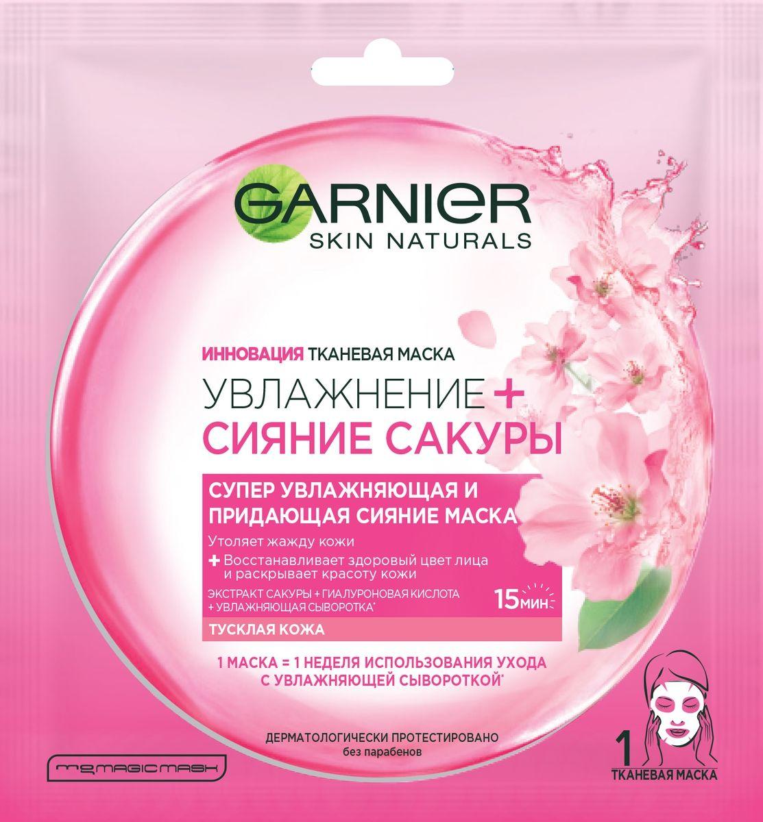 Garnier Тканевая маска Увлажнение + Сияние Сакуры, супер увлажняющая и придающая сияние, для тусклой кожи, 32 гр770255Инновационная тканевая маска пропитана гелем, обогащенным экстрактом сакуры, гиалуроновой кислотой и увлажняющей сывороткой. Нанесенная на лицо, маска действует как компресс, раскрывающий красоту Вашей кожи и увлажняющий глубокие слои кожи, придавая ей здоровое сияние. Тканевая маска мгновенно увлажняет Вашу кожу и дарит ощущение комфорта, как после массажа. Это настоящий момент заботы о себе и своей коже. Подходит для всех типов кожи, даже чувствительной. 1 маска = 1 неделя использования ухода увлажняющей сывороткой.