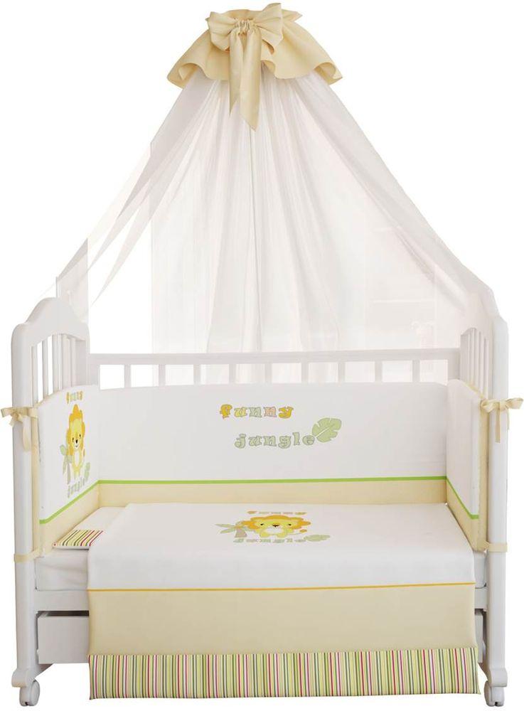 Polini Комплект белья для новорожденных Джунгли 7 предметов 1246 подушка баловни зайчик и щенок 40х60 см