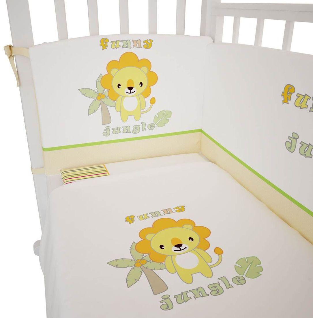 Polini Комплект белья для новорожденных Джунгли 3 предмета 12671267Состав комплекта:- наволочка (40 х 60 см),- простыня на резинке на матрац (120 х 60 см),- пододеяльник (110 х 140 см).