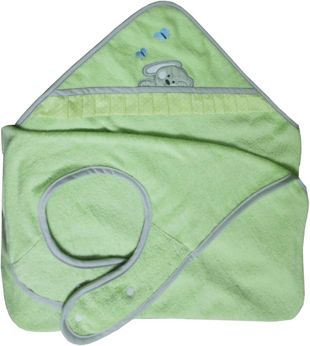 Polini Полотенце-фартук детское Зайки цвет зеленый1420Полотенце-фартук c вышивкой Polini Зайки, зеленый.Полотенце фартук - просто находка для мамочек. Этот уникальный продукт представляет собой полотенце, которое удобно крепится на вашей шее позволяя оставлять ваши руки свободными.После процедуры купания легко укутаете ребенка, избегая лишних движений. Материал изделия состоит из 100% хлопка, который подарит ощущение мягкости детской коже малыша. Благодаря фартуку ваша одежда будет защищена от брызг. Купать малыша с таким полотенцем - одно удовольствие.Габариты полотенца: 100 х 120 см.