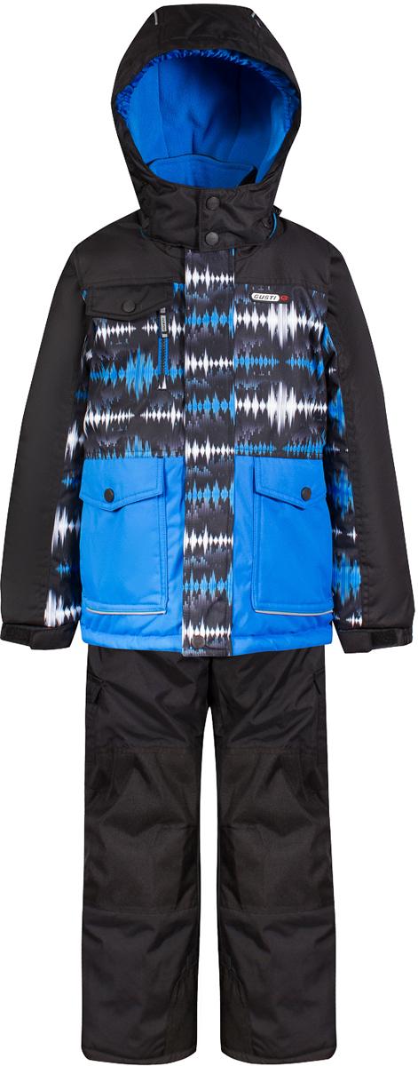 Комплект верхней одежды для мальчика Gusti, цвет: черный. GWB 4638-BLACK. Размер 150GWB 4638-BLACKКомплект Gusti состоит из куртки и полукомбинезона. Ткань верха: мембрана с коэффициентом водонепроницаемости 5000 мм и коэффициентом паропроницаемости 5000 г/м2, одежда ветронепродуваемая. Благодаря тонкому полиуретановому напылению изнутри не промокает даже при сильной влаге, но при этом дышит (защита от влаги не препятствует циркуляции воздуха). Плотность ткани Т190 обеспечивает высокую износостойкость. Утеплитель: тек-Полифилл (Tech-Polyfil) - 280г/м2, силиконизированый полиэстер изготовленный по новейшим технологиям, удерживает тепло при температуре до -30 С. Очень мягкий, создающий объем для сохранения тепла. Высокоэффективный, обладающий повышенной устойчивостью к сжатию (после стирки в стиральной машине изделие достаточно встряхнуть), обеспечивающий хорошую вентиляцию, обладающий прекрасным, теплоизолирующими свойствами синтетический материал. Главные преимущества Тек-Полифила – одежда более пушистая на ощупь и менее тяжелое по весу. Подкладка: высокотехнологичный флис COOLQUICK. Специальное кручение нитей позволяет ткани максимально впитывать влагу и увеличивать испаряемость с поверхности, т.е. выпустить пар, но не пропускает влагу снаружи, что обеспечивает комфорт даже при высоких физических нагрузках. Этот материал ранее был разработан специально для спортсменов, которые испытывали сильные нагрузки во время активного движения, а теперь принес комфорт и тепло в нашу повседневную жизнь. Это особенно важно для детей, когда они гуляют на свежем воздухе, чтобы тело всегда оставалось сухим и теплым. В этой одежде им будет тепло в течение длительного времени и нет необходимости надевать теплый свитер. Верхняя одежда GUSTI просто чистится. Стирать одежду придется очень редко – только при сильных загрязнениях. Если малыш забрался в лужу или грязь, просто вытрите пятно влажной тряпкой.