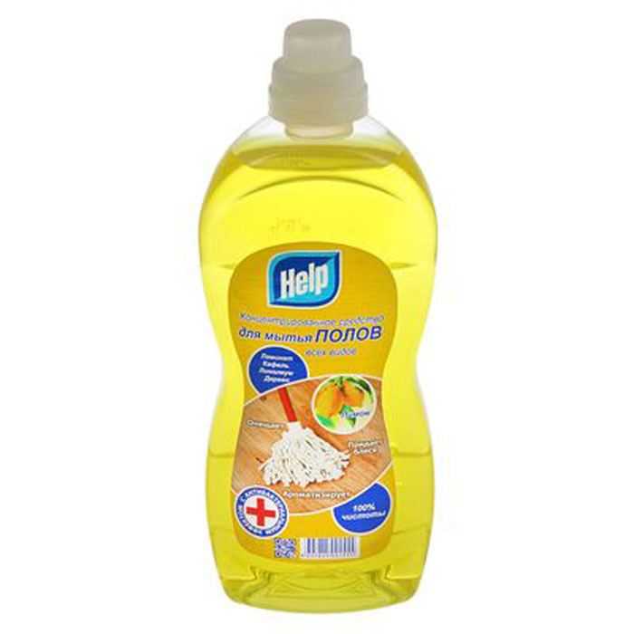 Средство для мытья полов Help Лимон, концентрированное, 1 кг4605845001555Концентрированное средство Help Лимон легко и быстро моет ламинат, кафель, линолеум, дерево. Прекрасно удаляет загрязнения, придаёт блеск полу и оставляет после себя приятный свежий аромат. Средство экономично и не оставляет разводов. Товар сертифицирован.Уважаемые клиенты!Обращаем ваше внимание на возможные изменения в дизайне упаковки. Качественные характеристики товара остаются неизменными. Поставка осуществляется в зависимости от наличия на складе.