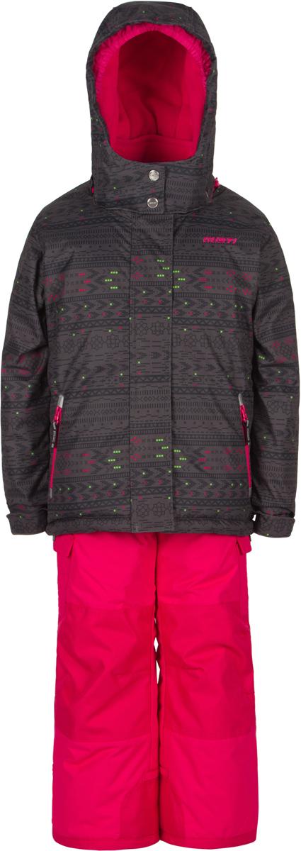 Комплект верхней одежды для девочки Gusti, цвет: черный, розовый. GWG 3302-CHARCOAL. Размер 104GWG 3302-CHARCOALКомплект Gusti состоит из курки и полукомбинезона. Ткань верха: мембрана с коэффициентом водонепроницаемости 5000 мм и коэффициентом паропроницаемости 5000 г/м2, одежда ветронепродуваемая. Благодаря тонкому полиуретановому напылению изнутри не промокает даже при сильной влаге, но при этом дышит (защита от влаги не препятствует циркуляции воздуха). Плотность ткани Т190 обеспечивает высокую износостойкость. Утеплитель: тек-Полифилл (Tech-Polyfil) - 280г/м2, силиконизированый полиэстер изготовленный по новейшим технологиям, удерживает тепло при температуре до -30 С. Очень мягкий, создающий объем для сохранения тепла. Высокоэффективный, обладающий повышенной устойчивостью к сжатию (после стирки в стиральной машине изделие достаточно встряхнуть), обеспечивающий хорошую вентиляцию, обладающий прекрасным, теплоизолирующими свойствами синтетический материал. Главные преимущества Тек-Полифила – одежда более пушистая на ощупь и менее тяжелое по весу. Подкладка: высокотехнологичный флис COOLQUICK. Специальное кручение нитей позволяет ткани максимально впитывать влагу и увеличивать испаряемость с поверхности, т.е. выпустить пар, но не пропускает влагу снаружи, что обеспечивает комфорт даже при высоких физических нагрузках. Этот материал ранее был разработан специально для спортсменов, которые испытывали сильные нагрузки во время активного движения, а теперь принес комфорт и тепло в нашу повседневную жизнь. Это особенно важно для детей, когда они гуляют на свежем воздухе, чтобы тело всегда оставалось сухим и теплым. В этой одежде им будет тепло в течение длительного времени и нет необходимости надевать теплый свитер. Верхняя одежда GUSTI просто чистится. Стирать одежду придется очень редко – только при сильных загрязнениях. Если малыш забрался в лужу или грязь, просто вытрите пятно влажной тряпкой.