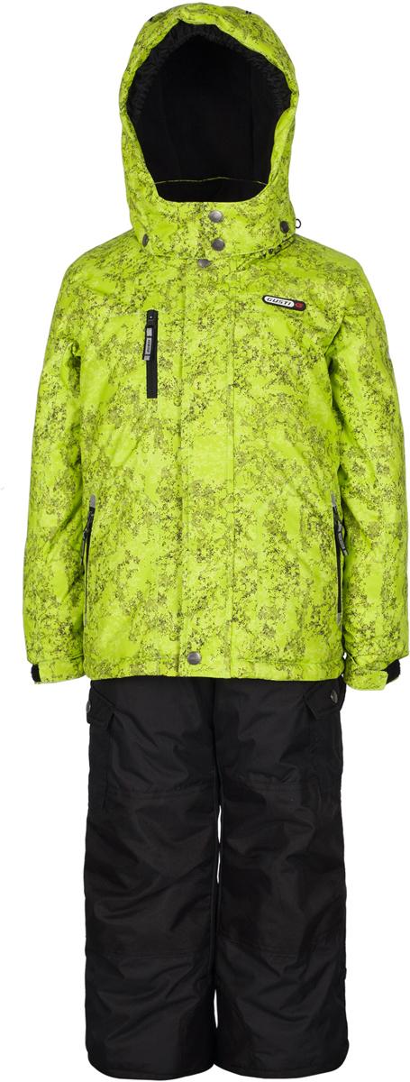 Комплект верхней одежды для мальчика Gusti, цвет: зеленый, черный. GWB 3313-ACID LIME. Размер 112GWB 3313-ACID LIMEКомплект Gusti состоит из куртки и полукомбинезона. Ткань верха: мембрана с коэффициентом водонепроницаемости 5000 мм и коэффициентом паропроницаемости 5000 г/м2, одежда ветронепродуваемая. Благодаря тонкому полиуретановому напылению изнутри не промокает даже при сильной влаге, но при этом дышит (защита от влаги не препятствует циркуляции воздуха). Плотность ткани Т190 обеспечивает высокую износостойкость. Утеплитель: тек-Полифилл (Tech-Polyfil) - 280г/м2, силиконизированый полиэстер изготовленный по новейшим технологиям, удерживает тепло при температуре до -30 С. Очень мягкий, создающий объем для сохранения тепла. Высокоэффективный, обладающий повышенной устойчивостью к сжатию (после стирки в стиральной машине изделие достаточно встряхнуть), обеспечивающий хорошую вентиляцию, обладающий прекрасным, теплоизолирующими свойствами синтетический материал. Главные преимущества Тек-Полифила – одежда более пушистая на ощупь и менее тяжелое по весу. Подкладка: высокотехнологичный флис COOLQUICK. Специальное кручение нитей позволяет ткани максимально впитывать влагу и увеличивать испаряемость с поверхности, т.е. выпустить пар, но не пропускает влагу снаружи, что обеспечивает комфорт даже при высоких физических нагрузках. Этот материал ранее был разработан специально для спортсменов, которые испытывали сильные нагрузки во время активного движения, а теперь принес комфорт и тепло в нашу повседневную жизнь. Это особенно важно для детей, когда они гуляют на свежем воздухе, чтобы тело всегда оставалось сухим и теплым. В этой одежде им будет тепло в течение длительного времени и нет необходимости надевать теплый свитер. Верхняя одежда GUSTI просто чистится. Стирать одежду придется очень редко – только при сильных загрязнениях. Если малыш забрался в лужу или грязь, просто вытрите пятно влажной тряпкой.