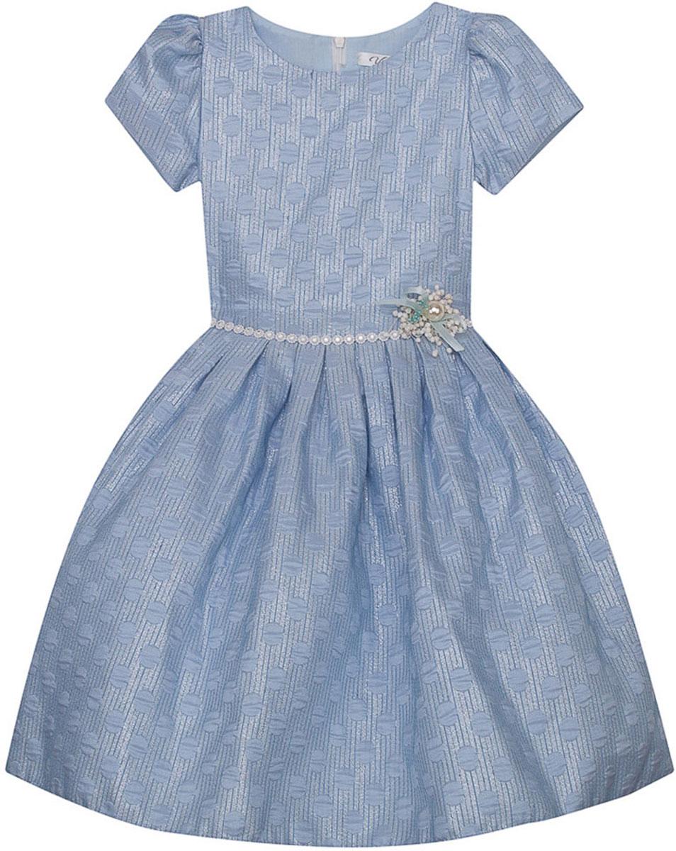 Платье для девочки Vitacci, цвет: голубой. 2171393-10. Размер 1302171393-10Стильное платье Vitacci идеально подойдет вашей дочурке. Платье выполнено из полиэстера с подкладкой из хлопка. Платье-миди с короткими рукавами и круглым вырезом горловины дополнено принтом и на талии декоративным ремешком. Модель застегивается на молнию, расположенную на спинке.