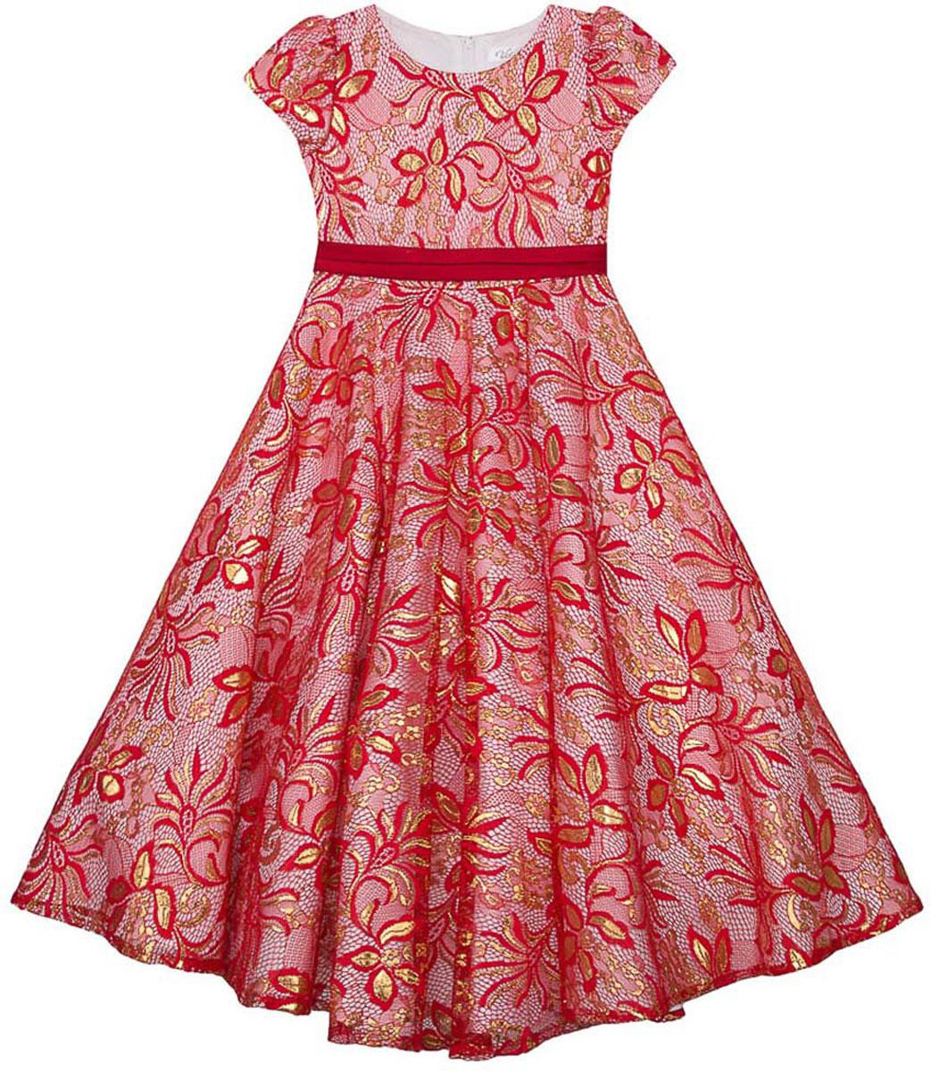 Платье для девочки Vitacci, цвет: красный. 2171392-05. Размер 1402171392-05Стильное платье Vitacci идеально подойдет вашей дочурке. Платье выполнено из полиэстера с подкладкой из хлопка. Удлиненное платье с короткими рукавами и круглым вырезом горловины дополнено эффектным принтом. Модель застегивается на молнию, расположенную на спинке.