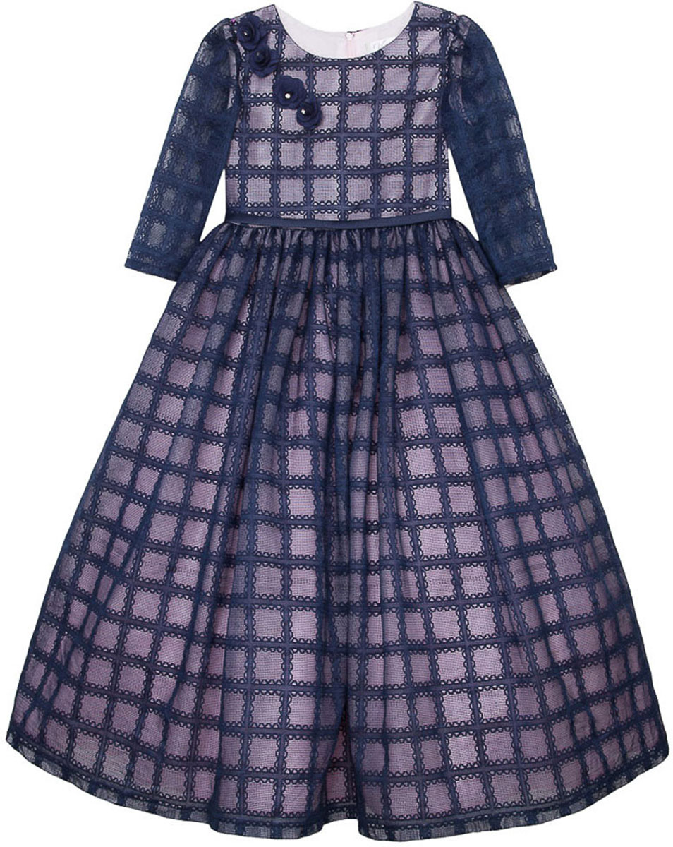 Платье для девочки Vitacci, цвет: синий. 2171397-04. Размер 1102171397-04Стильное платье Vitacci идеально подойдет вашей дочурке. Платье выполнено из полиэстера с подкладкой из хлопка. Платье с длинными рукавами и круглым вырезом горловины дополнено принтом и на груди декоративными цветками. Модель застегивается на молнию, расположенную на спинке.