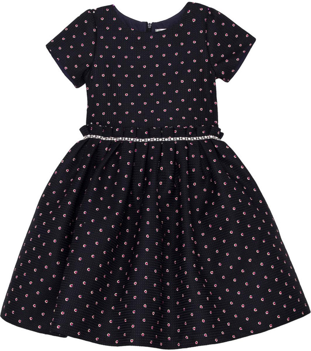 Платье для девочки Vitacci, цвет: синий. 2171400-04. Размер 1202171400-04Стильное платье Vitacci идеально подойдет вашей дочурке. Платье выполнено из полиэстера с подкладкой из хлопка. Платье с короткими рукавами и круглым вырезом горловины дополнено принтом. Модель застегивается на молнию, расположенную на спинке.