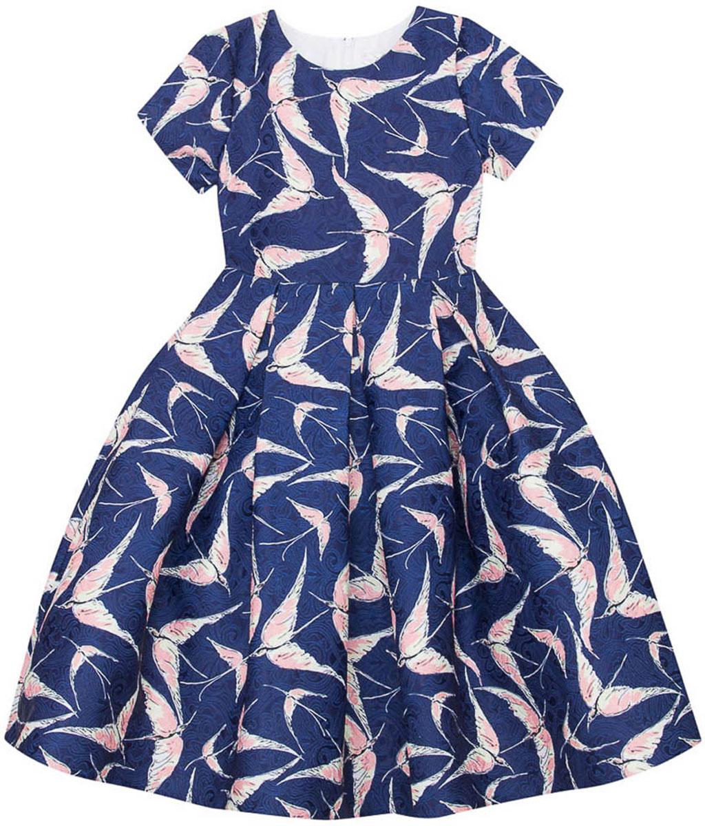 Платье для девочки Vitacci, цвет: синий. 2171404-04. Размер 1582171404-04Стильное платье Vitacci идеально подойдет вашей дочурке. Платье выполнено из полиэстера с подкладкой из хлопка. Платье с короткими рукавами и круглым вырезом горловины дополнено принтом. Модель застегивается на молнию, расположенную на спинке.