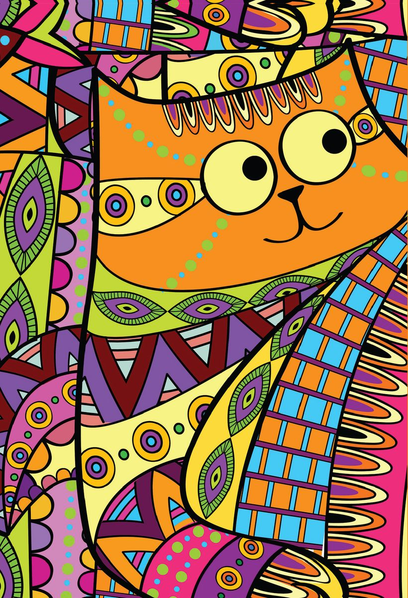 Блокнот Кот с узорами 80 листов цвет оранжевый формат А602-1018Блокнот А6 спираль 80л.Кот с узорами БП6-80-4
