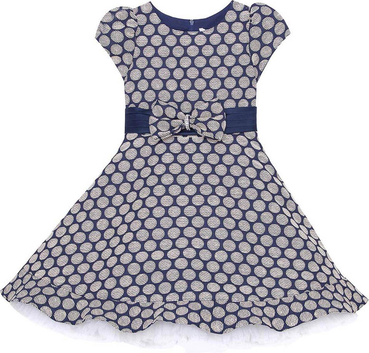 Платье для девочки Vitacci, цвет: синий. 2171416-04. Размер 1202171416-04Стильное платье Vitacci идеально подойдет вашей дочурке. Платье выполнено из полиэстера с подкладкой из хлопка. Платье с короткими рукавами и круглым вырезом горловины дополнено принтом и на талии декоративным бантиком. Модель застегивается на молнию, расположенную на спинке.
