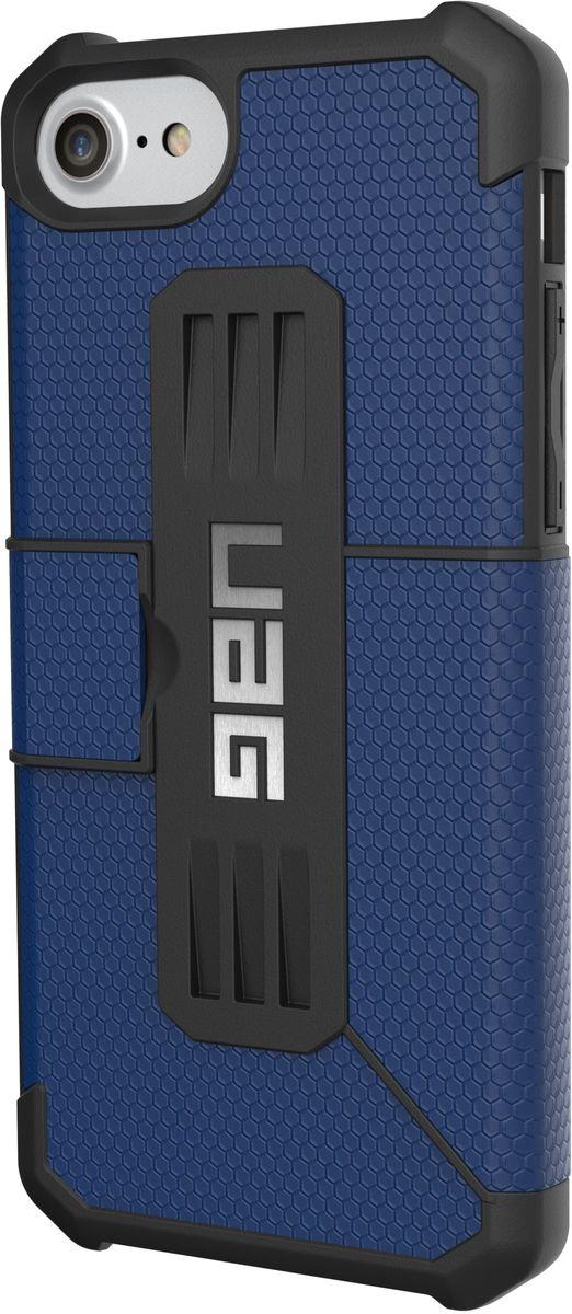 UAG Metropolis чехол для Apple iPhone 8/7/6s, BlueIPH8/7-E-CBСовременный дизайн изделий отлично подходит к различным стилям в одежде: спортивный, повседневный, милитари и другие. Эти аксессуары повышенной прочности подходят как для обычной жизни, так для условий, требующих дополнительной защиты ваших устройств (спорт, строительство, узкопрофессиональная сфера деятельности).