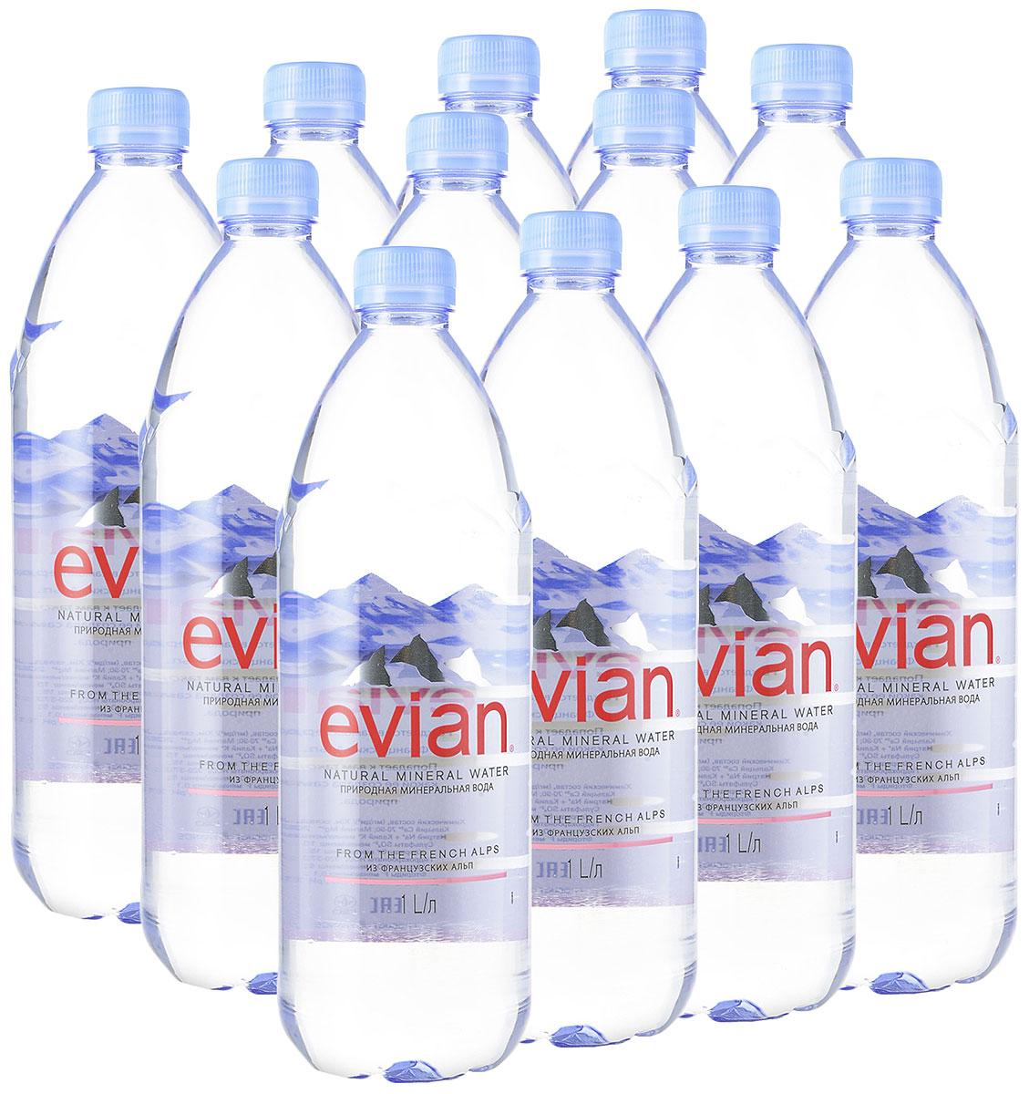 Evian вода минеральная природная столовая негазированная, 12 штук по 1 л evian вода минеральная evian без газа 1 5 л