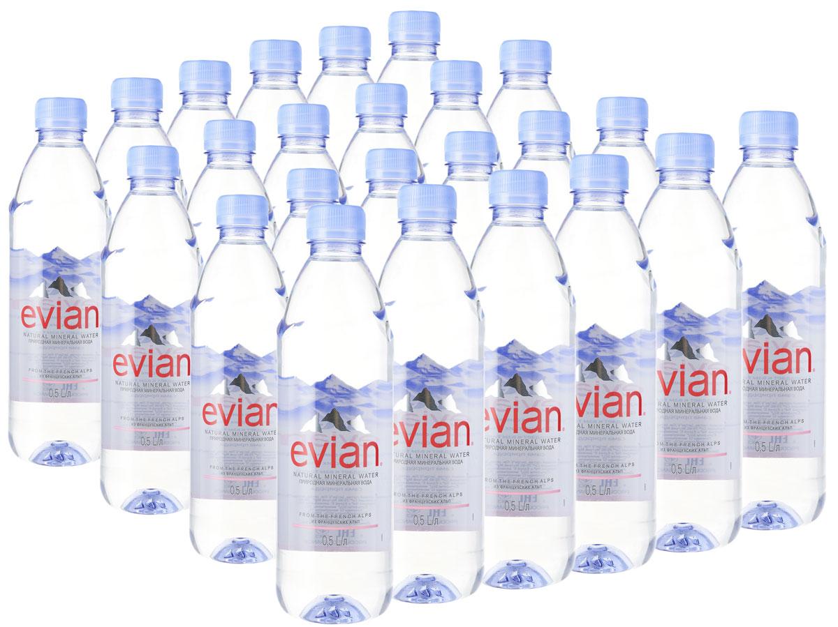 Evian вода минеральная природная столовая негазированная, 24 штук по 0,5 л fontdor вода минеральная природная премиум 1 л