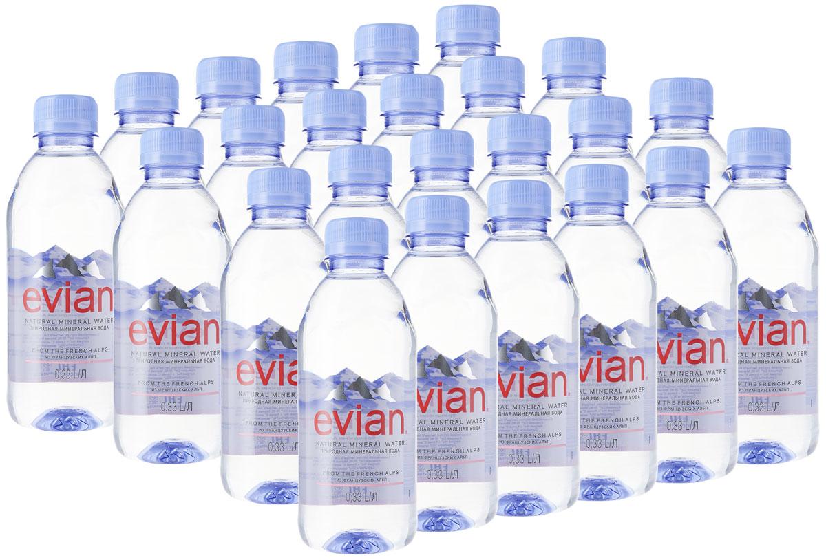 Evian вода минеральная природная столовая негазированная, 24 шт по 0,33 л fontdor вода минеральная природная премиум 1 л