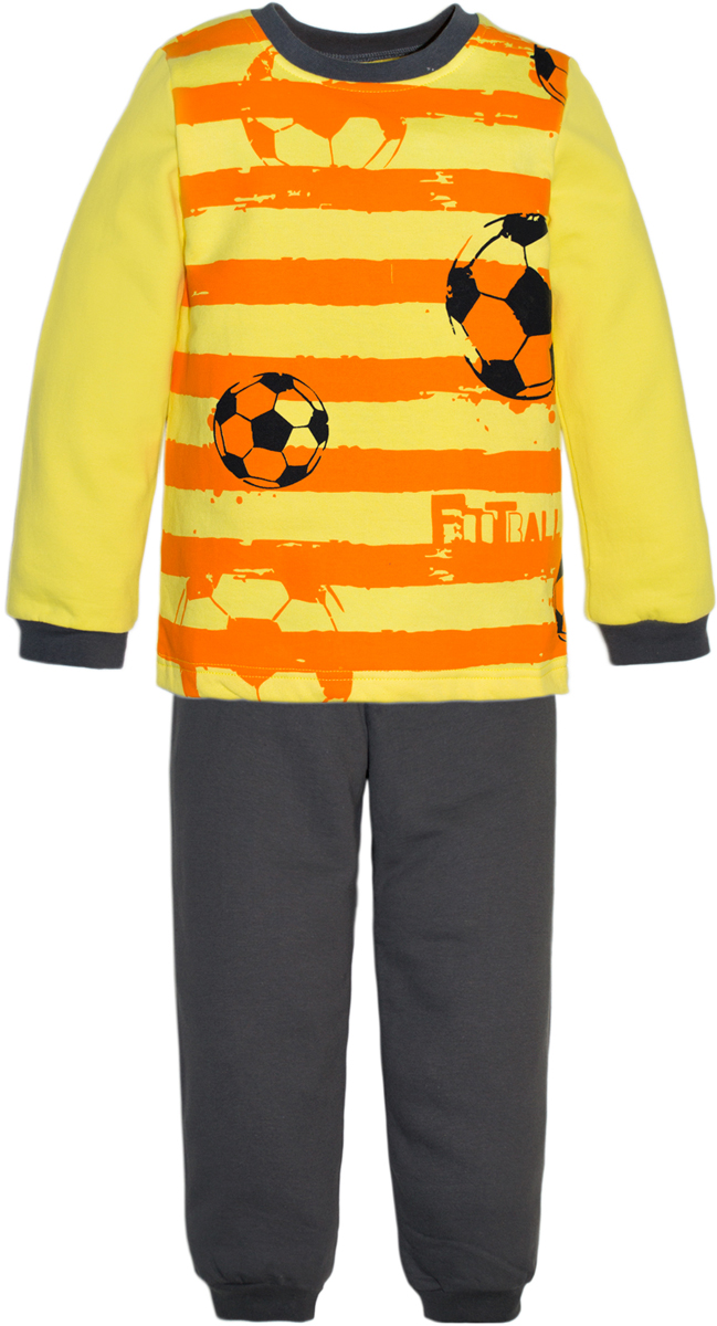 Пижама для мальчика Lets Go, цвет: желтый. 9225. Размер 929225Пижама для мальчика Lets Go, состоящая из футболки с длинным рукавом и брюк, выполнена из натурального хлопкового трикотажа. Футболка с длинными рукавами и круглым вырезом горловины спереди оформлена принтом. Брюки с эластичной резинкой на талии.