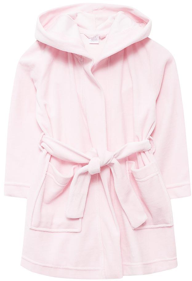 Халат для девочки Sela, цвет: нежный розовый. BRb-5663/027-7311. Размер 104/110BRb-5663/027-7311Халат для девочки от Sela выполнен из велюра. Модель с длинными рукавами и капюшоном дополнена широким поясом. Имеются накладные карманы.