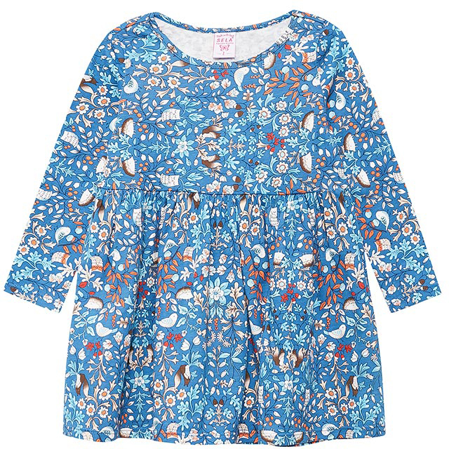 Платье для девочки Sela, цвет: глубоководный синий. DK-517/397-7432. Размер 104DK-517/397-7432