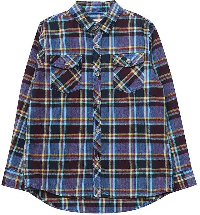 Рубашка для мальчика Sela, цвет: индиго. H-812/019-7423. Размер 122H-812/019-7423Рубашка для мальчика от Sela выполнена из натурального хлопка. Модель с длинными рукавами и отложным воротником застегивается на пуговицы. На груди дополнена накладными карманами с клапанами.